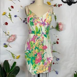 Yumi Kim 100% silk floral faux wrap sundress